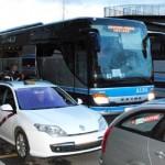 """Los autobuses han comenzado a parar en la """"estación"""" provisional de la N-VI."""