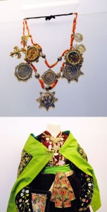 Arriba, una de las collaradas con sus 'jardines maragatos'. Abajo, detalle del traje de candelaria (Salamanca) que forma parte de la nueva temporada de Alhajas.