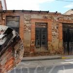 Inmueble en la Avenida de Portugal y detalle del estado en que se encuentra la fachada.