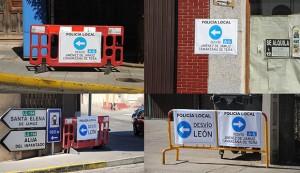 Cuatro imágenes de algunos de los paneles informativos colocados por distintos puntos de la ciudad.