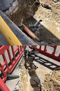 Dos instantáneas del estado que presentan las canalizaciones afectadas por las obras en dos puntos que han sido abiertos.