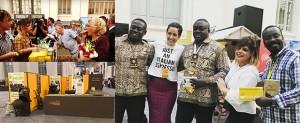 Tres imágenes de la participación de Chocolates Santocildes en el Salón Internacional del Chocolate de Madrid.
