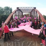 Un gran lazo rosa protagonizó la llegada al Puente de Requejo.